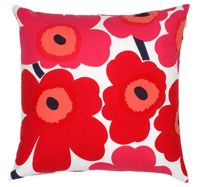 Decoration - Cushions & Poufs - Pieni Unikko Cushion - 50 x 50 cm by Marimekko - Pieni Unikko - Red & white - Cotton