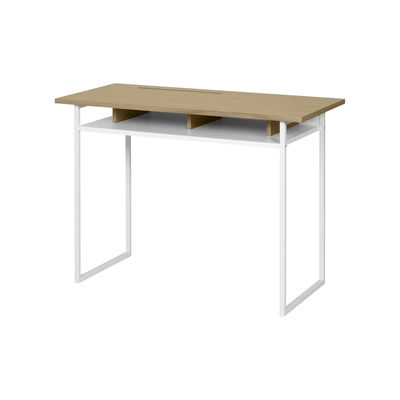 Furniture - Office Furniture - Boston Desk - / L 110 x D 50 cm by POP UP HOME - Oak & white - chipboard panels, Lacquered metal, MDF, Oak veneer