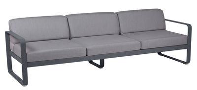 Arredamento - Divani moderni - Divano destro Bellevie - 3 posti / L 235 cm - Tessuto grigio di Fermob - Carbone / Tessuto grigio flanella - Alluminio laccato, Espanso, Tessuto acrilico