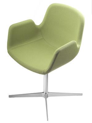 Möbel - Stühle  - Pass Drehsessel / gepolstert - Lapalma - Sitzfläche mit grünem Stoffbezug / Fußgestell verchromter Edelstahl, matt - Gewebe, verchromtes Aluminium