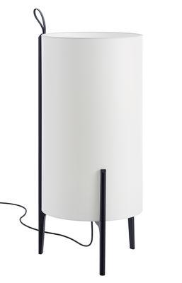 Lampe de sol Greta / Ø 40 x H 90 cm - Carpyen blanc,noir en tissu