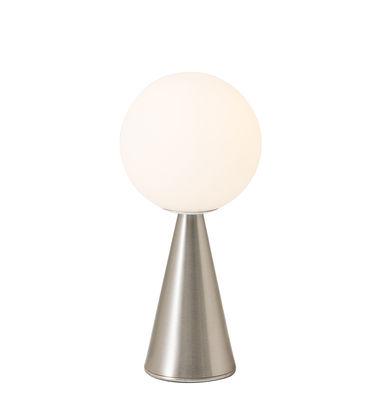 Luminaire - Lampes de table - Lampe de table Bilia Mini / H 26 cm - By Gio Ponti (1932) - Fontana Arte - Nickel - Métal, Verre soufflé satiné
