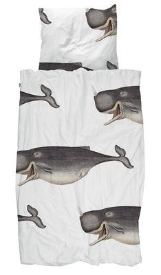 Déco - Pour les enfants - Parure de lit 1 personne Baleine / 140 x 200 cm - Snurk - Cachalot / Gris - Coton