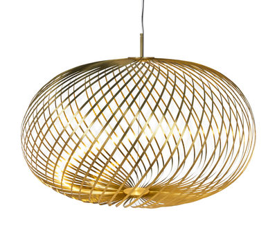 Lighting - Pendant Lighting - Spring Large LED Pendant - / Ø 95 x H 70 cm - Adjustable steel strips by Tom Dixon - Brass - Stainless steel