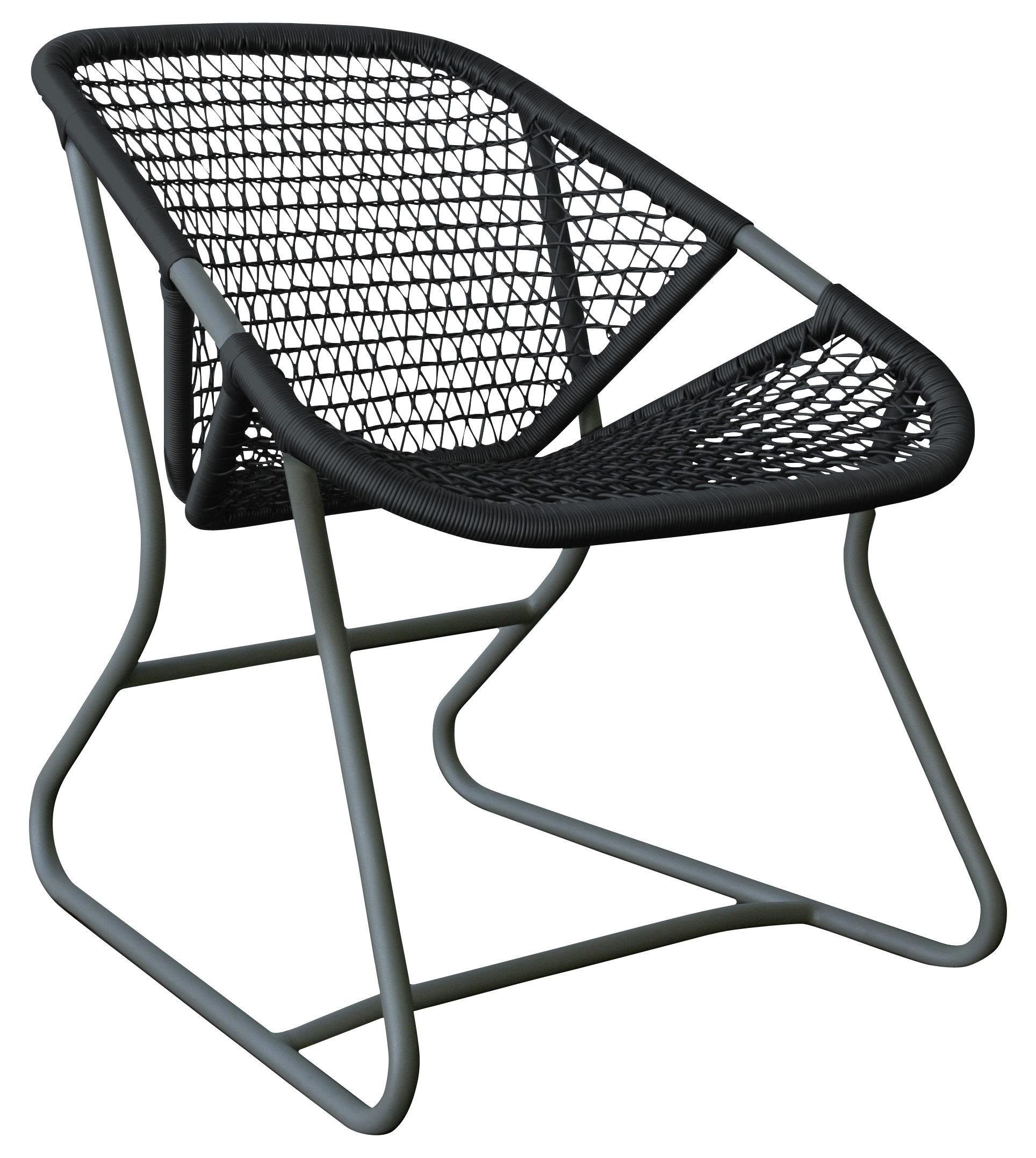 Arredamento - Poltrone design  - Poltrona bassa Sixties di Fermob - Piede Grigio temporale / Seduta Ardesia - Alluminio, Materiale plastico