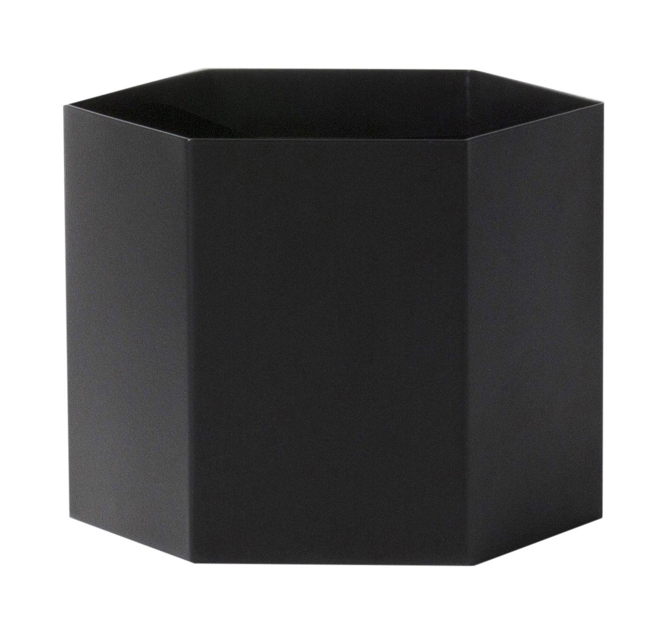 Déco - Pots et plantes - Pot de fleurs Hexagon XL / Ø 18 x H 16 cm - Ferm Living - Noir - Métal laqué