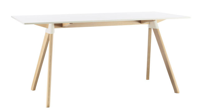 Furniture - Dining Tables - Butch - The Wild Bunch Rectangular table by Magis - White / Natural Wood legs - HPL, Natural beechwood, Polypropylene