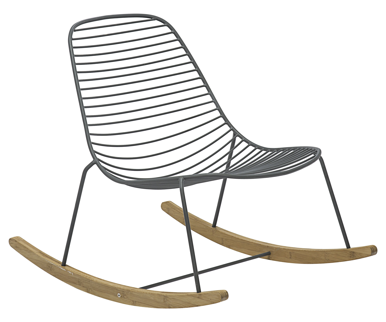 Arredamento - Poltrone design  - Rocking chair Sketch / Metallo & bambù - Houe - Grigio / Bambù - Bambù, Metallo rivestito in resina epossidica