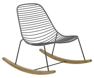 Mobilier - Fauteuils - Rocking chair Sketch / Métal & bambou - Houe - Gris / Bambou - Bambou, Métal laqué époxy