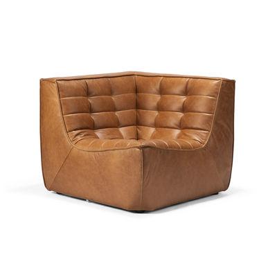 Arredamento - Poltrone design  - Sedia d'angolo N701 - / Pelle di Ethnicraft - Pelle Cognac - Espanso, Legno, Pelle anilina