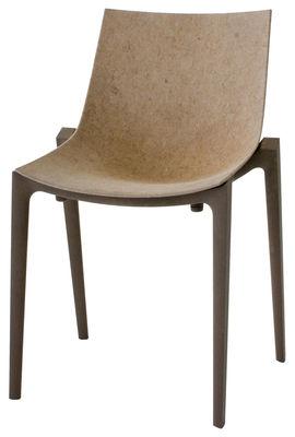 Arredamento - Sedia impilabile Zartan Eco - /Fibra chiara - Ideata da Philippe Starck di Magis - Seduta beige/Gambe marrone scuro - Fibra di iuta, Polipropilene riciclato