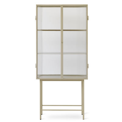 Furniture - Bookcases & Bookshelves - Haze Showcase - / L 70 x H 155 cm - Fluted glass by Ferm Living - Cashmere beige / Fluted glass - Epoxy lacquered metal, Fluted glass