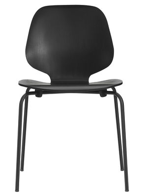 Furniture - Chairs - My Chair Stacking chair - Wood seat by Normann Copenhagen - Black / Black legs - Ash veneer, Lacquered steel