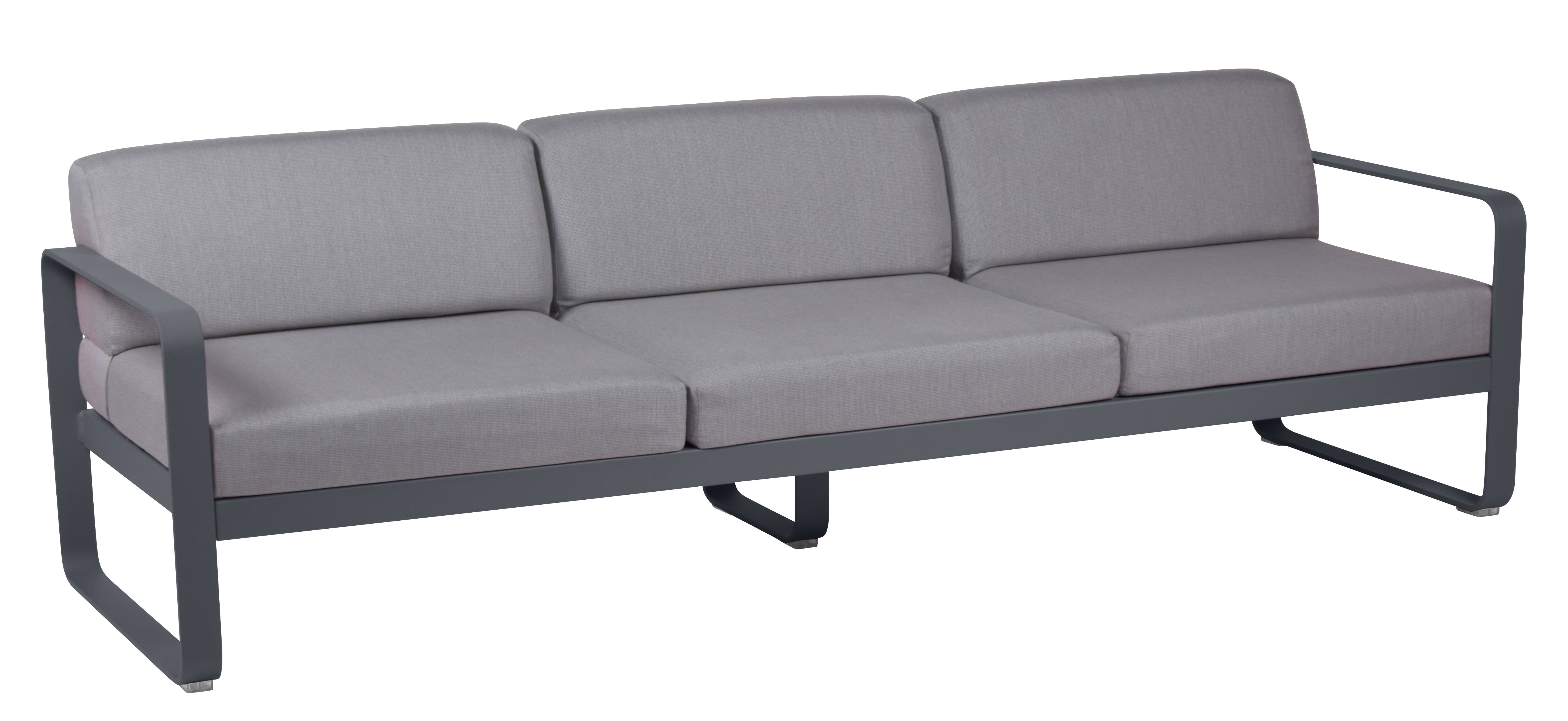 Furniture - Sofas - Bellevie Straight sofa - 3 seats / L 235 cm - Grey fabric by Fermob - Carbon / Grey flannel fabric - Acrylic fabric, Foam, Lacquered aluminium