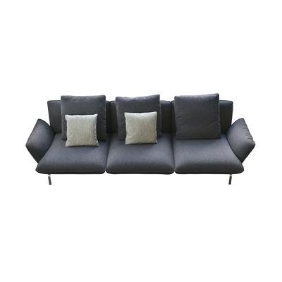 Furniture - Sofas - Dove Straight sofa - / 3 seats - L 292 cm / Fabric by Zanotta - Sofa / Blue-black - Fabric, Polyester fiber, Steel, Variable density polyurethane, Varnished aluminium alloy, Wood