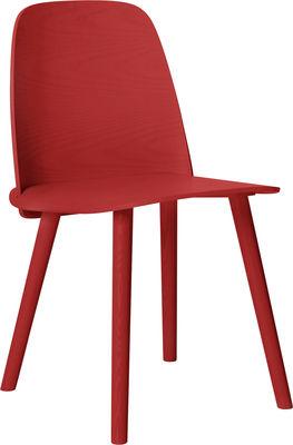 Möbel - Stühle  - Nerd Stuhl - Muuto - Rot - Esche