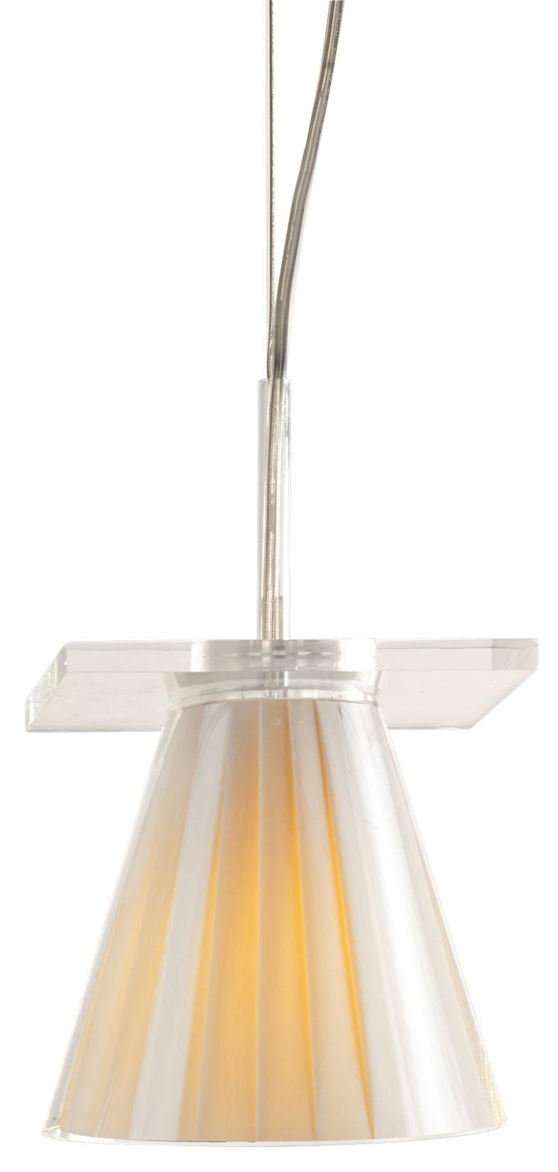 Luminaire - Suspensions - Suspension Light-Air / Abat-jour tissu - Kartell - Tissu beige - Technopolymère thermoplastique, Tissu