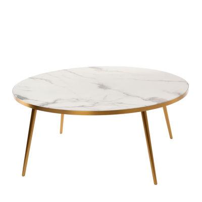 Table basse / Ø 80 x H 35 - Aspect marbre - Pols Potten blanc en matière plastique/pierre