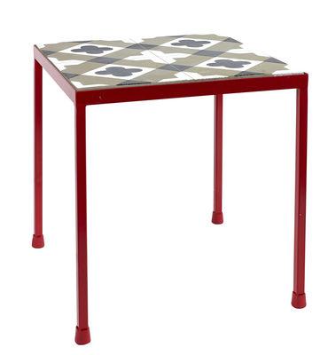 Table d´appoint Feeling / Béton motifs carreaux de ciment - 40 x 40 cm - Serax rouge,gris en métal