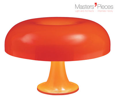 Lighting - Table Lamps - Masters' Pieces - Nesso Table lamp - 1967 / Ø 54 cm by Artemide - Orange - ABS