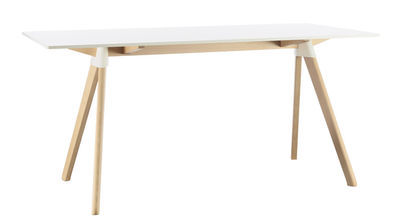 Mobilier - Tables - Table rectangulaire Butch - The Wild Bunch / 129 x 75 cm - Magis - Blanc / Pieds bois naturel - Hêtre massif, HPL, Polypropylène