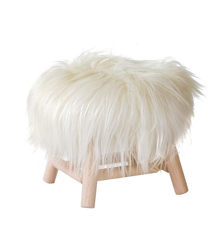 Mobilier - Tabourets bas - Tabouret Moumoute Small / H 27 cm - Peau de mouton véritable & Bois - FAB design - Poils longs / Blanc - Hêtre non traité, Laine de mouton véritable