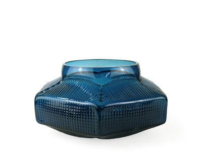 Vase Trace Bas / Ø 30 x H 18 cm - Vanessa Mitrani bleu canard en verre