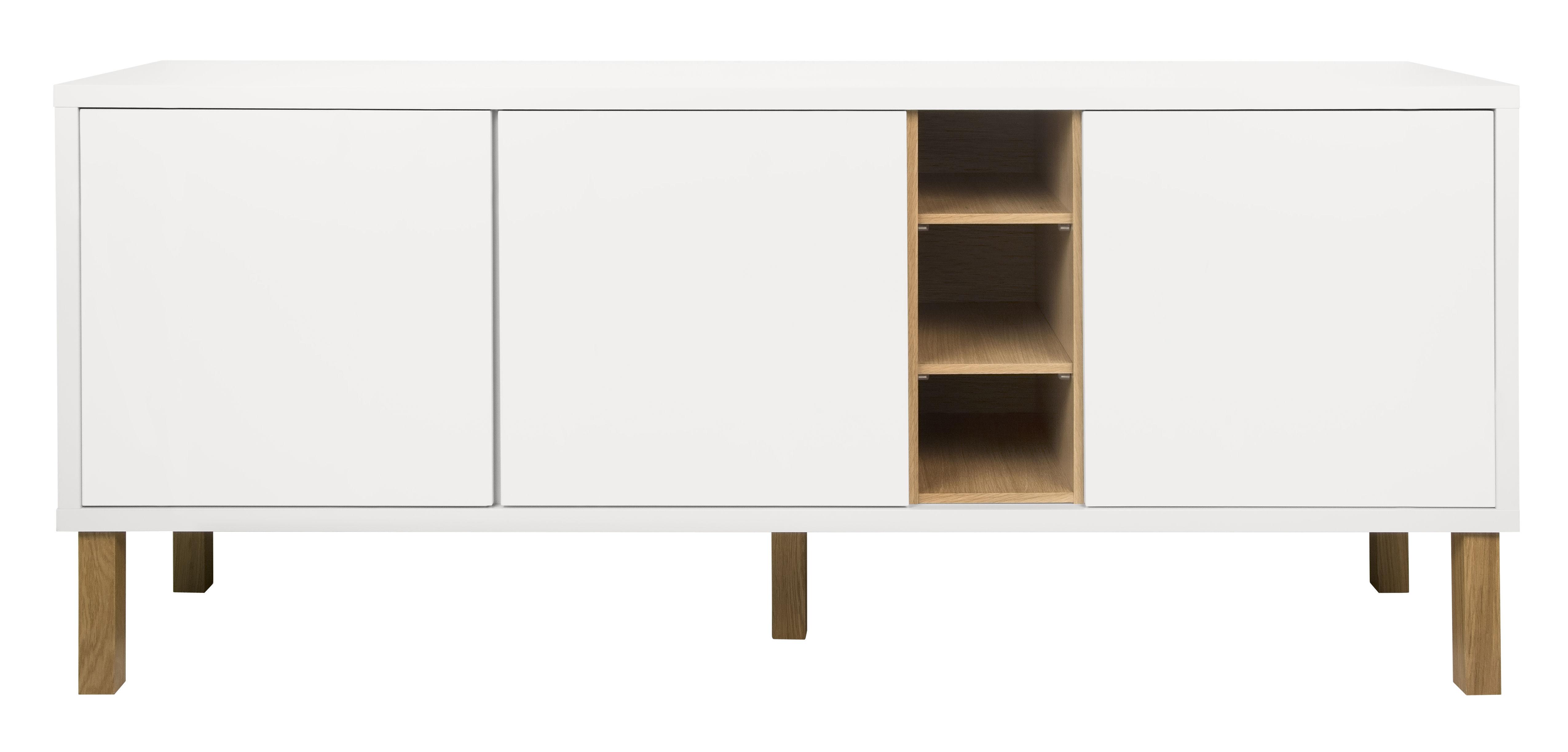 Möbel - Kommode und Anrichte - Cove Anrichte / niedrig - L 179 cm x H 77 cm - POP UP HOME - Weiß / Eiche - massive Eiche, Placage chêne, Spanplatte, bemalt
