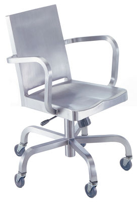 Furniture - Office Chairs - Hudson Outdoor Armchair on casters by Emeco - Brushed aluminium - Recycled brushed aluminium