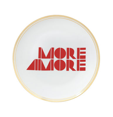 Assiette à dessert More Amore / Ø 17 cm - Bitossi Home blanc,rouge,doré en céramique