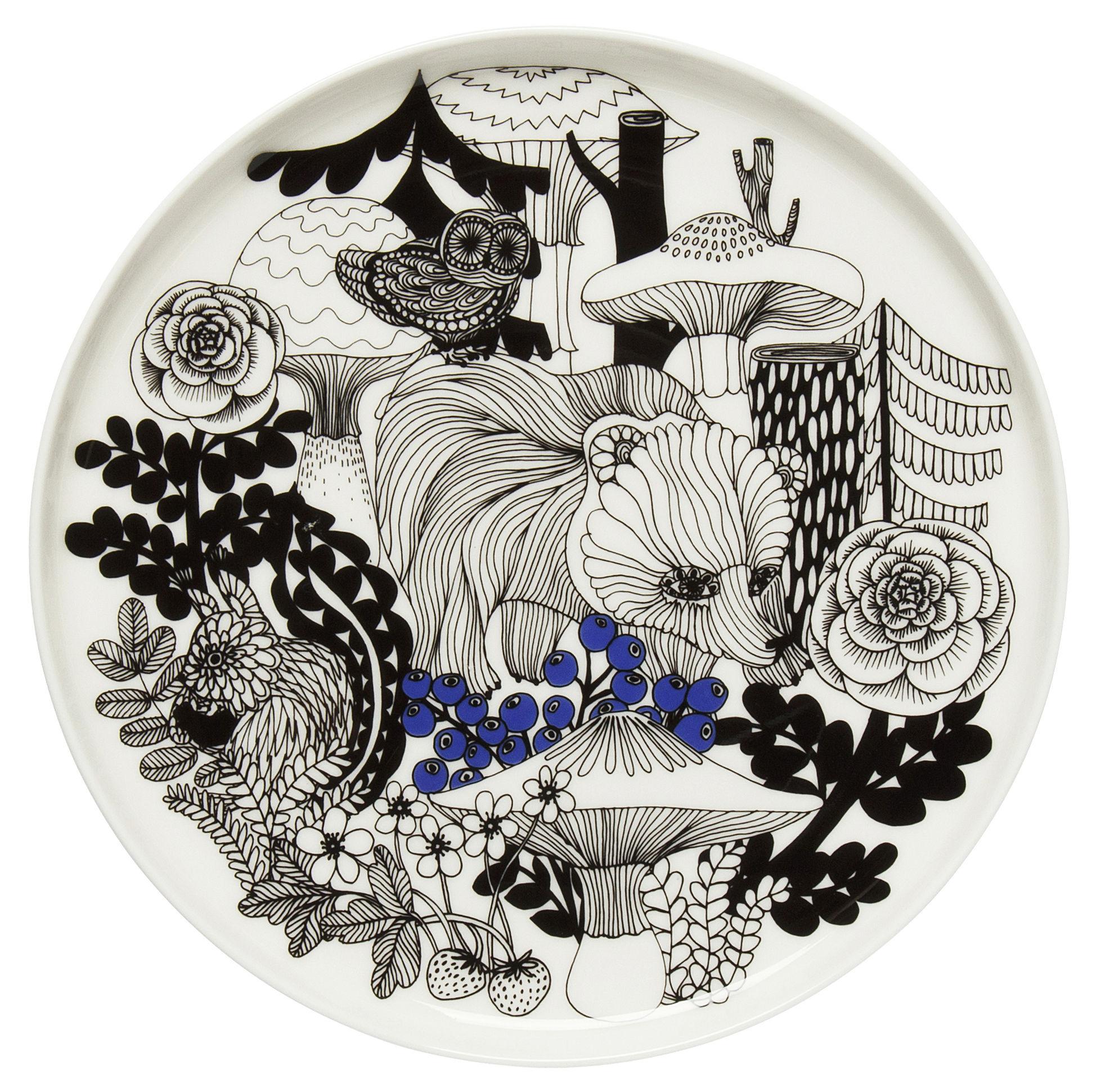 Arts de la table - Assiettes - Assiette à dessert Veljekset / Ø 20 cm - Marimekko - Veljekset / Noir & Bleu - Grès