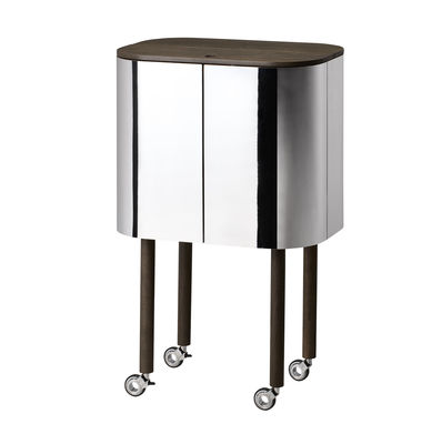 Mobilier - Compléments d'ameublement - Bar Loud / Roulettes - 60 x 39 x H 99 cm - Northern  - Miroir & chêne fumé - Aluminium poli, Chêne fumé, Stratifié