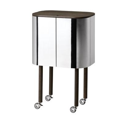 Möbel - Beistell-Möbel - Loud Bar / auf Rollen - H 110 cm - Northern  - Räuchereiche / Spiegel - poliertes Aluminium, Press-Spanplatte, Räuchereiche