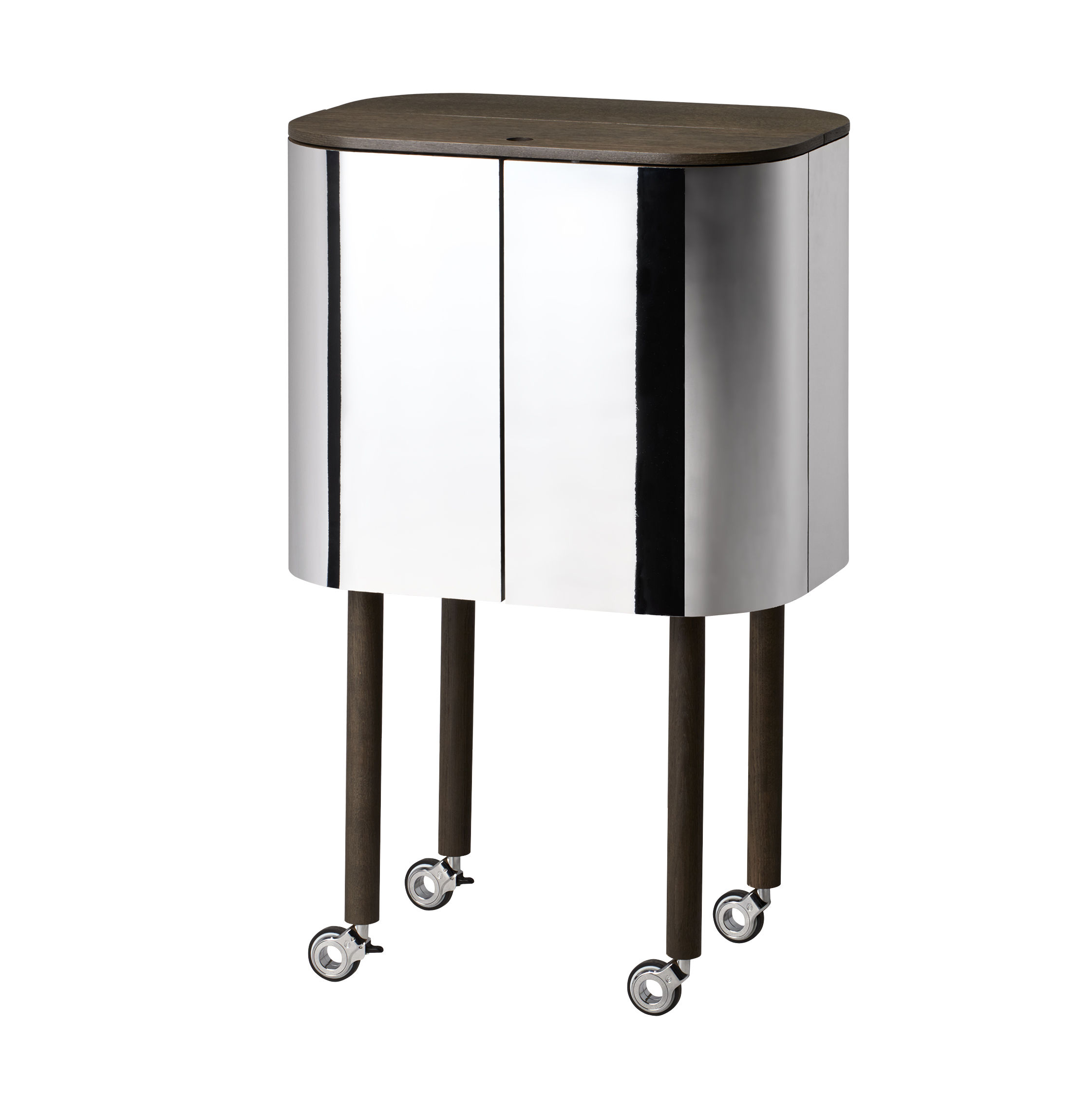 Möbel - Beistell-Möbel - Loud Bar / auf Rollen - H 110 cm - Northern  - Räuchereiche / Spiegel - Chêne fumé, Hochglanzlaminiertes Laminat