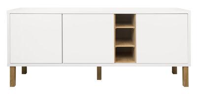 Mobilier - Commodes, buffets & armoires - Buffet Cove / Bas - L 179 x H 77 cm - POP UP HOME - Blanc / Chêne - Chêne massif, Panneaux d'aggloméré peint, Placage chêne