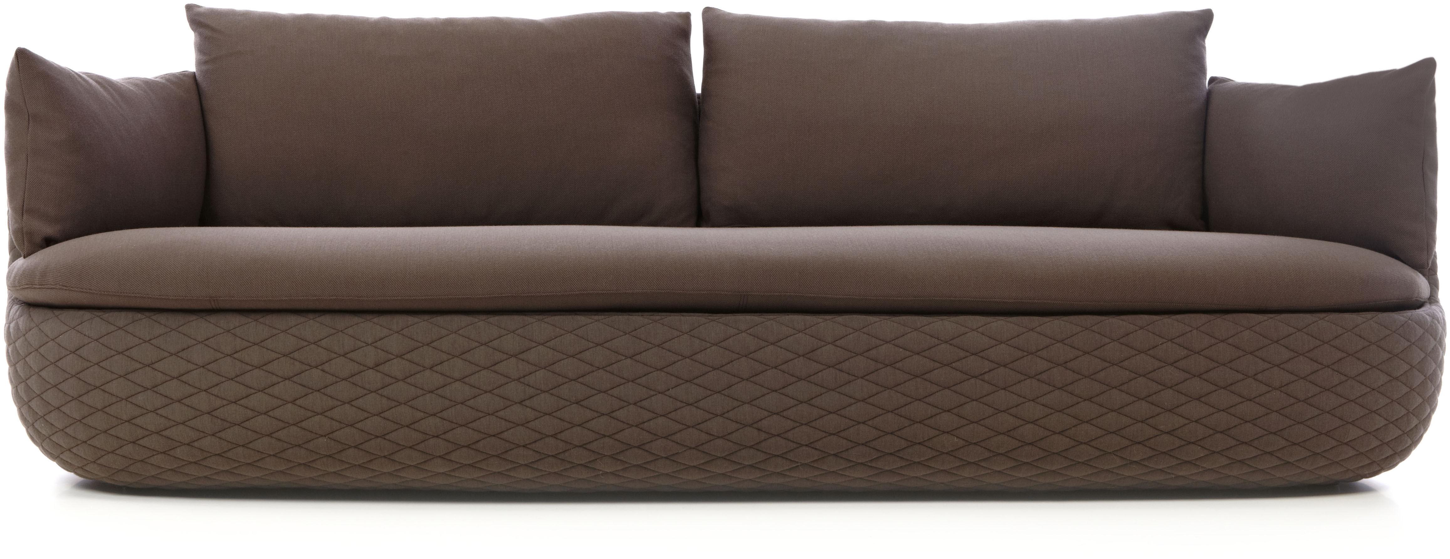 Mobilier - Canapés - Canapé droit Bart / L 235 cm - Tissu - Moooi - Marron / Base surpiqûres - Bois, Mousse, Tissu