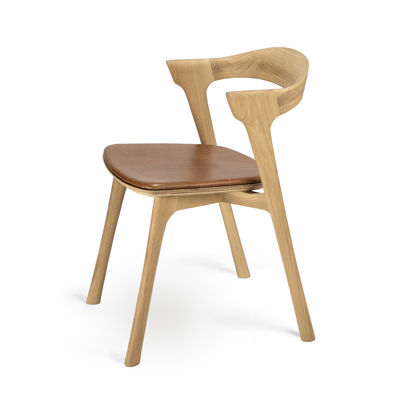 Furniture - Chairs - Bok Chair - / Solid oak Leather seat by Ethnicraft - Oak / Cognac leather - Leather, Solid oak