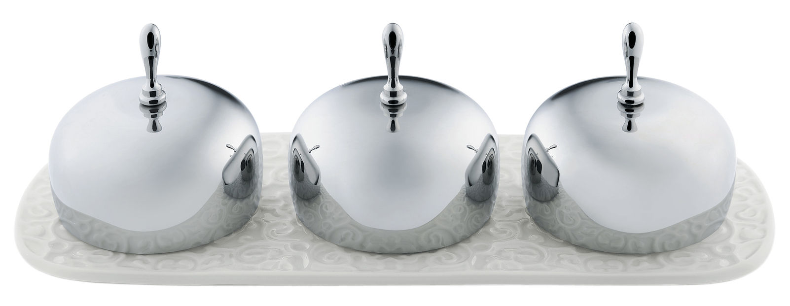 Arts de la table - Accessoires - Confiturier Dressed / 3 compartiments - Alessi - Blanc / Acier - Acier inoxydable, Porcelaine