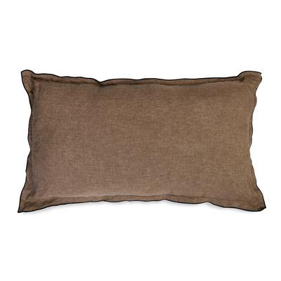 Decoration - Cushions & Poufs - Cushion - / 30 x 50 cm - Washed linen by Au Printemps Paris - Brown - Polyester, washed linen