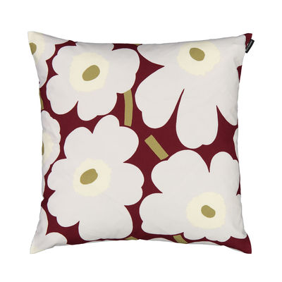 Decoration - Cushions & Poufs - Pieni unikko Cushion cover - / 45 x 45 cm by Marimekko - Pieni Unikko / Dark red, grey, off-white - Cotton
