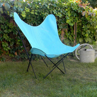 Chaise AA Butterfly OUTDOOR / Batyline - Structure noire - AA-New Design bleu en tissu