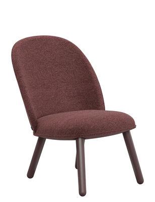 Mobilier - Fauteuils - Fauteuil bas rembourré Ace / Tissu & bois - Normann Copenhagen - Tissu rouge foncé - Hêtre teinté, Tissu Nist