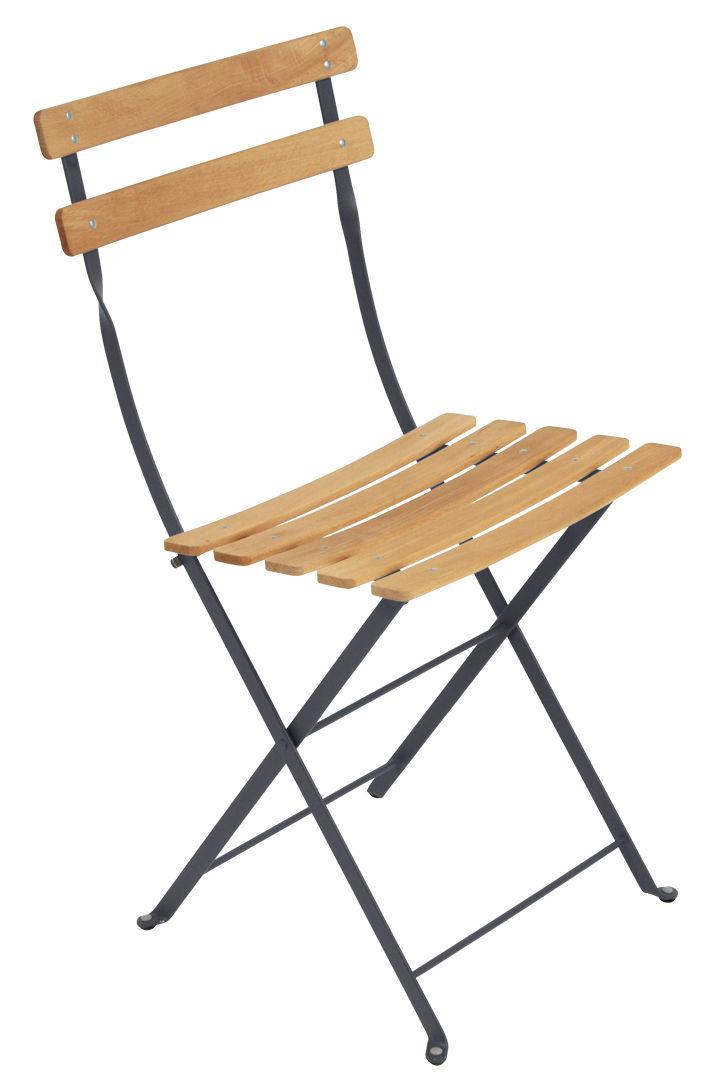 Möbel - Stühle  - Bistro Klappstuhl / Metall & Holz - Fermob - Anthrazit / holzfarben - bemalter Stahl, Buche, behandelt