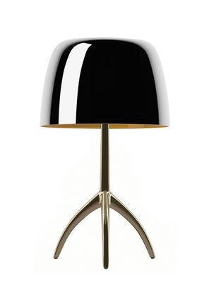 Lampe de table Lumière Piccola / Interrupteur - H 35 cm - Edition 25 ans - Foscarini aluminium poli,champagne en métal