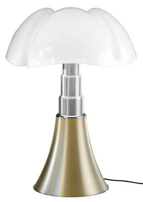 Lampe de table Pipistrello LED / H 66 à 86 cm - Martinelli Luce blanc,laiton satiné en métal