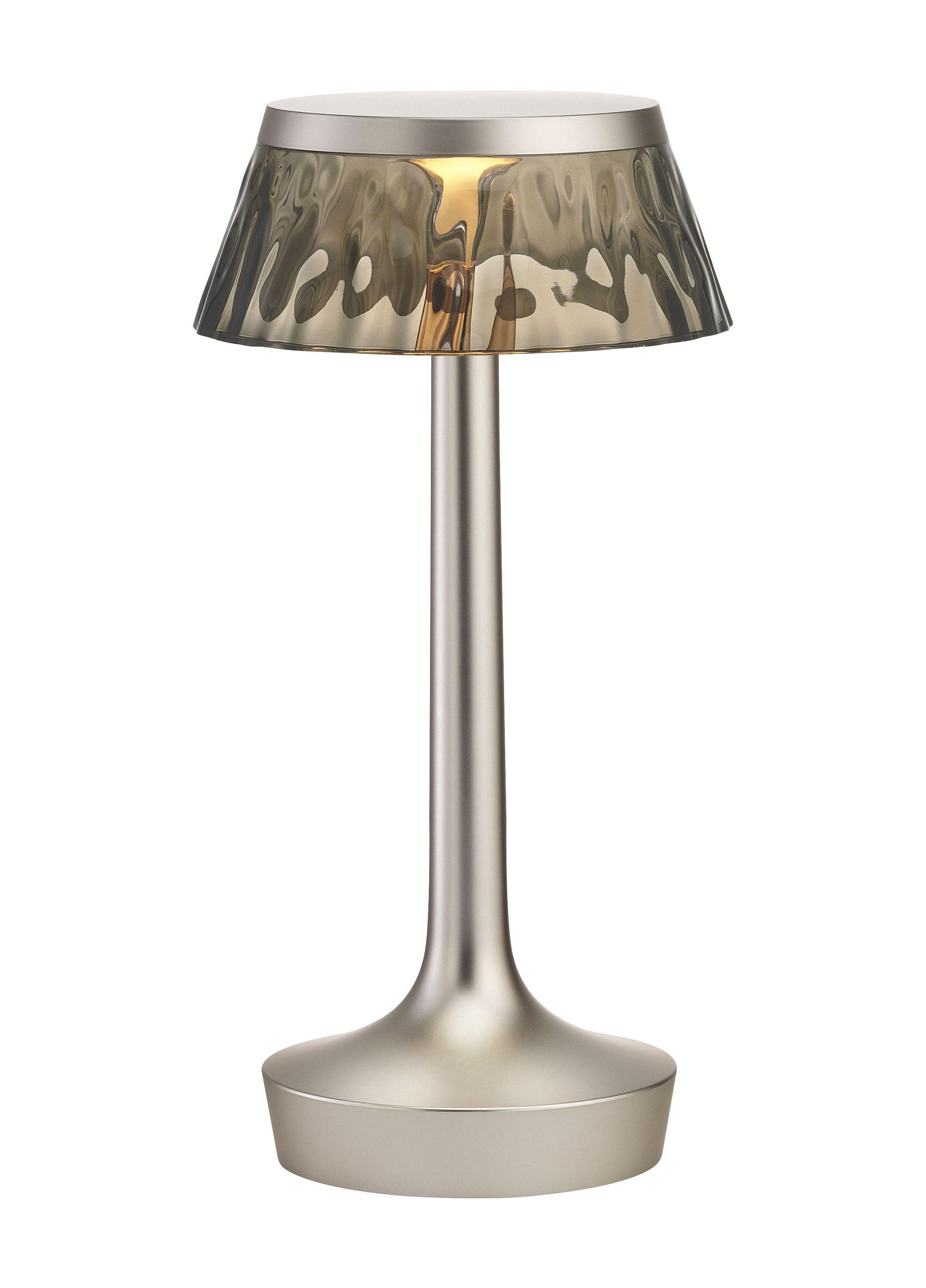 Luminaire - Lampes de table - Lampe sans fil Bon Jour Unplugged / LED - Variateur - Flos - Argent mat / Fumé - PMMA