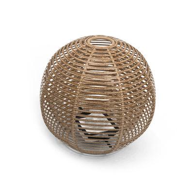 Luminaire - Lampes de table - Lampe solaire La Lampe Pailotte Sphere / Large Ø 48 cm / Hybride et connectée (solaire + dock USB) - Maiori - Ø 48 cm / Naturel - Aluminium, Fibre synthétique