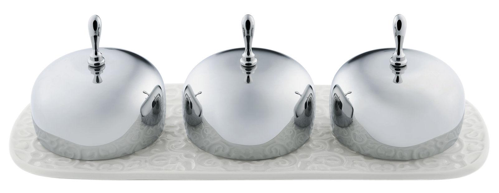 Tischkultur - Praktische Accessoires - Dressed Marmeladenglas / 3 Fächer - Alessi - Weiß / Stahl - Porzellan, rostfreier Stahl