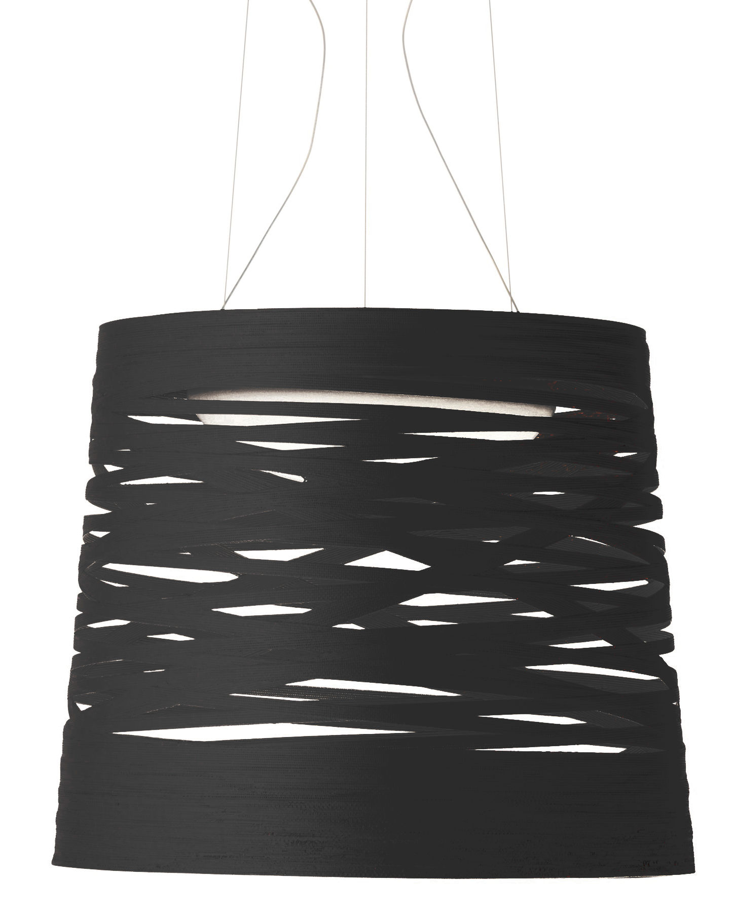 Lighting - Pendant Lighting - Tress Pendant by Foscarini - Black - Fibreglass, Lacquered composite material, Opal Glass, Steel