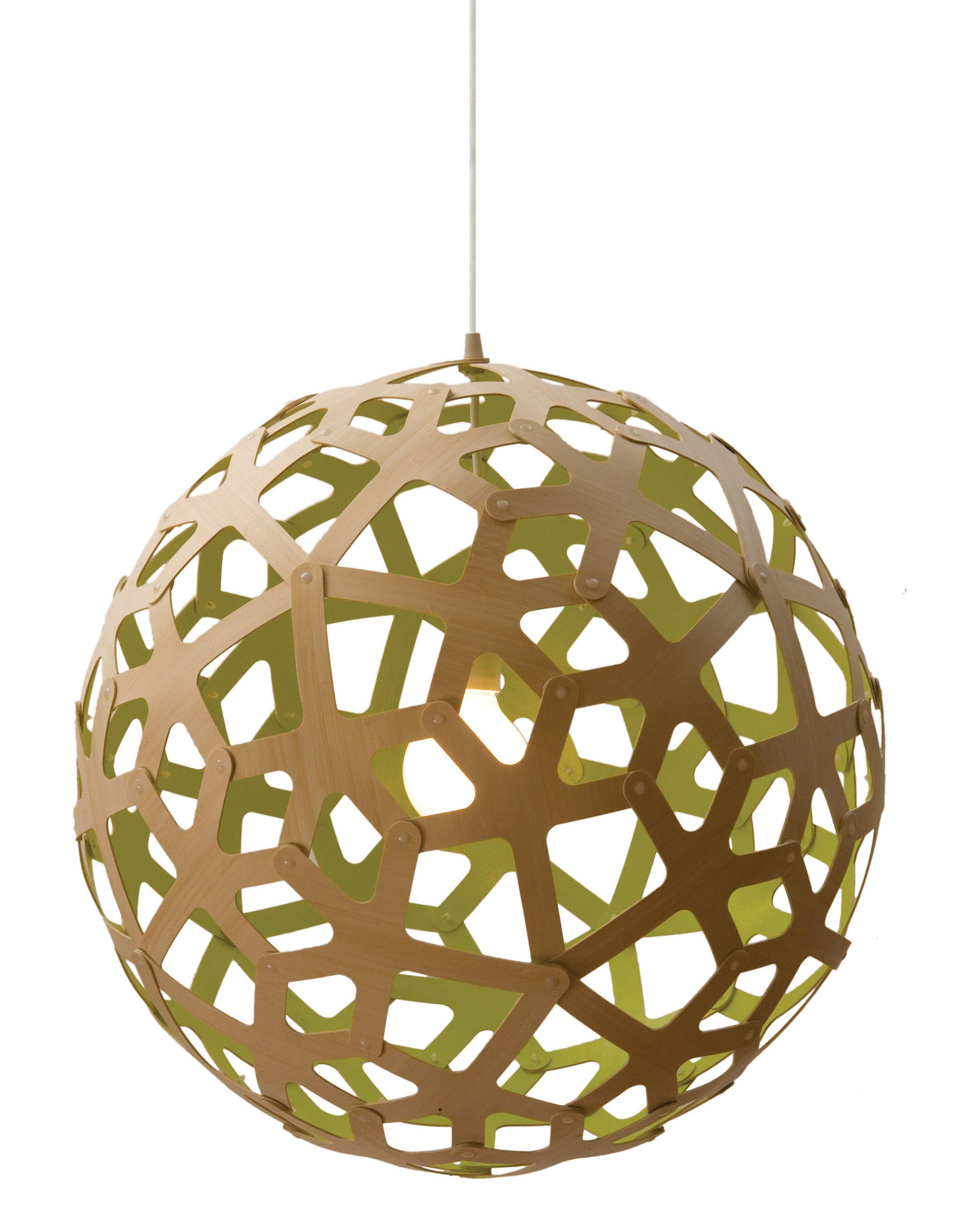 Leuchten - Pendelleuchten - Coral Pendelleuchte Ø 40 cm - zweifarbig - exklusiv - David Trubridge - Zitronengelb / Naturholz - Kiefer